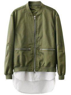 Zipped Layered Hem Jacket - Green S