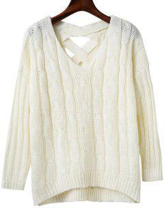 Crisscross Back V Neck Sweater - White