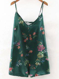 Backless Floral Cami Romper - Vert Foncé S