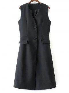 V Neck Two Buttons Long Waistcoat - Black M