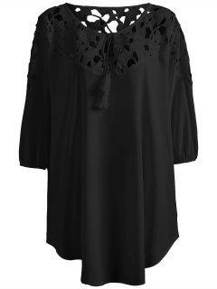 Plus Size Crochet Yoke Blouse - Black Xl