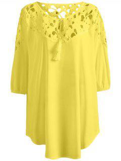 Plus Size Crochet Yoke Blouse - Yellow Xl