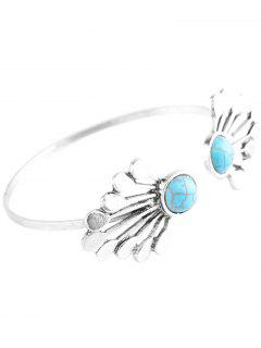 Water Drop Faux Turquoise Cuff Bracelet - Silver