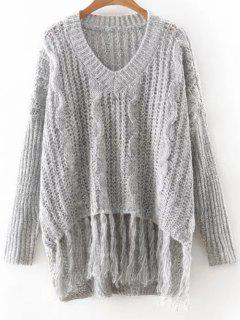 Pull Manches Longues A Col V  - Gris Clair