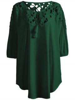 Plus Size Crochet Yoke Blouse - Blackish Green Xl