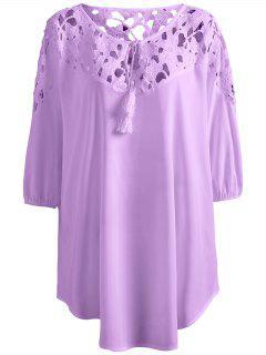 Blouse De Grande Taille En Crochet  - Violet Clair Xl