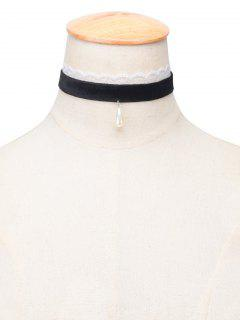 Water Drop Faux Pearl Velvet Choker - Black