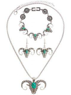Faux Turquoise Engraved Cow Jewelry Set - Silver