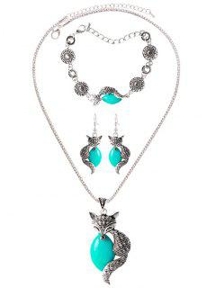 Faux Gemstone Circle Fox Jewelry Set - Green