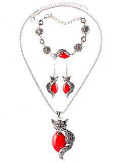 Faux Gemstone Circle Fox Jewelry Set - Red