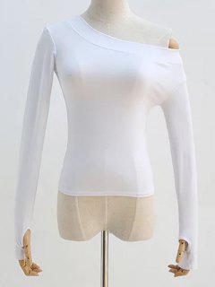 Pendiente Del Hombro De La Manga Larga De La Camiseta - Blanco M