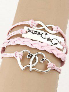 Interlink Hearts Braided Bracelet - Pink