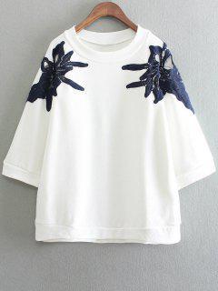 Round Neck Applique Cutout Sweatshirt - White