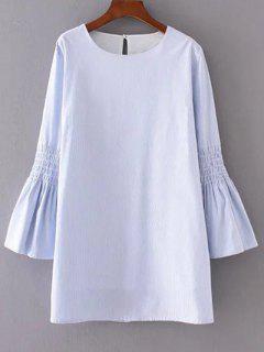 Robe à Rayures Manches Cloche - Bleu Léger  S