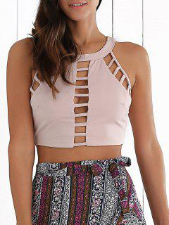 Ladder Cut Out Crop Top - Pink Xl