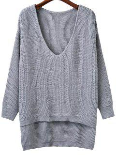 Plunging Neck High Low Sweater - Gray