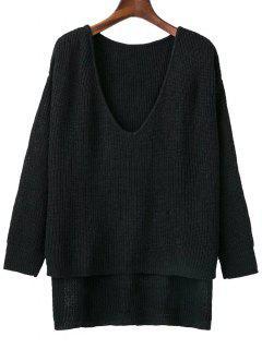 Plongeant Neck High Low Sweater - Noir