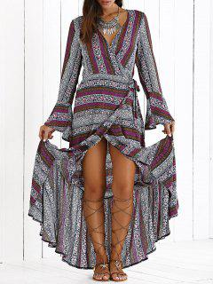 Haute Slit V Neck Bohemian Maxi Dress - Pourpre S