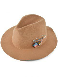 Pendant Safty Pin Felt Jazz Hat - Camel