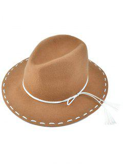 Tassel Lace-Up Felt Jazz Hat - Camel