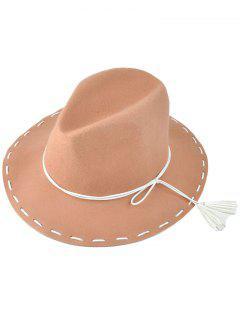 Tassel Lace-Up Felt Jazz Hat - Khaki