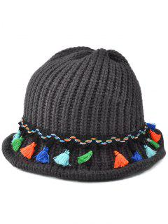Tassel Pendant Lace-Up Knitted Beanie - Black Grey