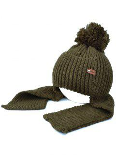 Fuzzy Ball Earmuff Knitted Beanie - Blackish Green