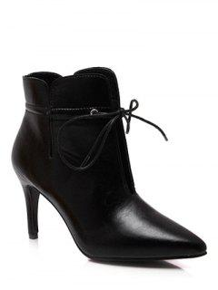 Tie Up Pointed Toe Stiletto Heel Boots - Black 37