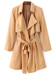 Lapel Collar Wrap Trench Coat - Khaki M