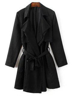 Collar De La Solapa Del Abrigo Trench Coat - Negro M