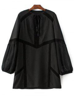 Évider Robe à Manches Bouffantes - Noir S