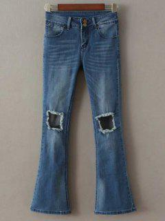 Destoryed Boot Cut Jeans - Deep Blue S