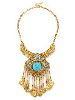 Alloy Layered Moon Engraved Coins Necklace - Blue And Golden