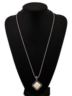 Faux Rammel Pendant Geometric Sweater Chain - White