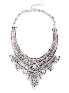 Fake Pearl Rhinestone Geometric Necklace - Silver
