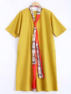 Straight Round Neck Dress With Scarf - Yellow
