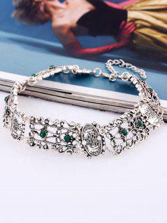 Alloy Rhinestone Engraved Floral Choker Necklace - Green