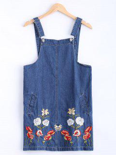 Floral Embroidered Denim Overalls Dresse - Denim Blue S