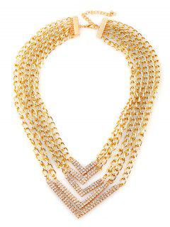 Rhinestone Alloy V-Shaped Chains Layered Necklace - Golden