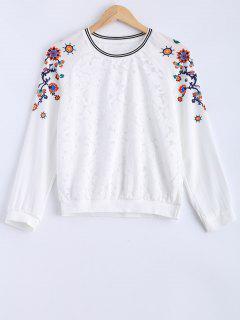 Cuello Empalmado Redondo Del Cordón De La Camiseta Impresa - Blanco S