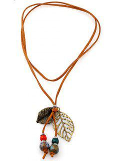 Faux Leather Beaded Leaf Pendant Choker - Bronze-colored