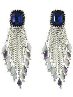 Faux Crystal Chains Geometric Drop Earrings - White