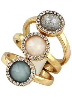 Faux Opal Round Jewelry Rings Set - Golden One-size