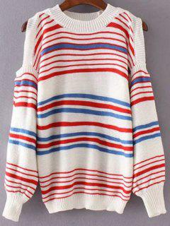 Cold Shoulder Striped Pull - Rayure