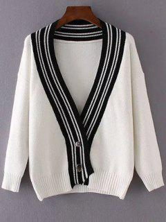 Bouton Plongeant Bas Neck Striped Cardigan - Blanc