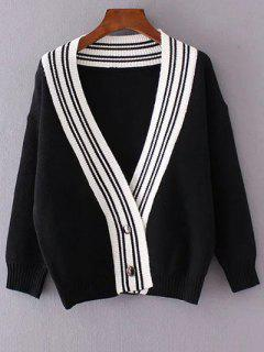 Button Down Plunging Neck Striped Cardigan - Black