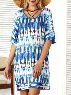 Tie Dye Shift Mini Dress - Light Blue S