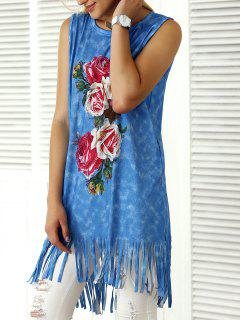 Tank Top Floral Fringe High Low - Bleu S