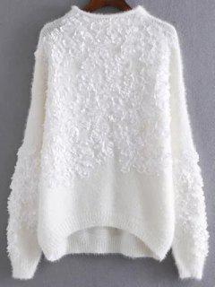 Floral Apliques Sudadera Suéter - Blanco