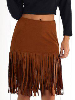 Faux Suede Flapper Skirt - Brown 2xl